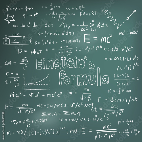 poster of Albert Einstein law and physics mathematical formula equation handwriting