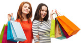 Fototapeta two smiling teenage girls with shopping bags