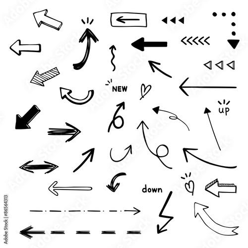 Tuinposter Graffiti 手描き矢印セット / vector eps10
