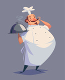 Fototapety Funny chef character. Isolated vector illustration.