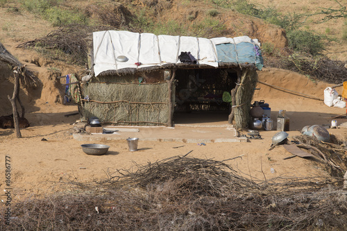 Fotobehang Overige Straw Indian hut. Thar Desert, Pushkar, India