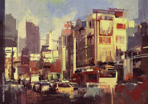 painting of city traffic jam on the street © grandfailure