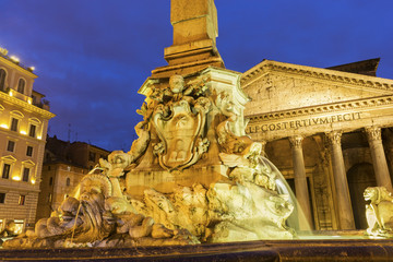 Fountain in the Pantheon's Piazza della Rotonda in Rome, Italy