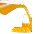 Fotoroleta Orange juice and slices of orange isolated on white