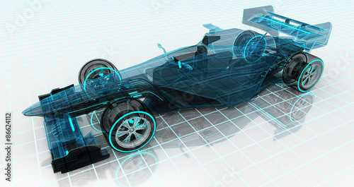 Fotobehang F1 formula car technology wireframe sketch upper front view