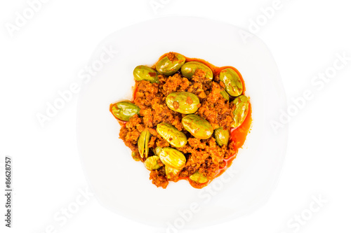 Sambal tumis petai, a popular traditional dish in Malaysia and Indonesia Poster
