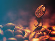 Closeup of coffee beans.Filtered image: warm cross processed vintage effect.