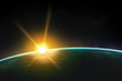Постер, плакат: View of planet sunrise sunset Beautiful universe realistic illustration Planet wallpaper