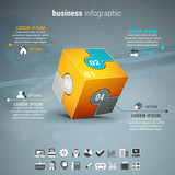 Business infographic with cube made of puzzle.