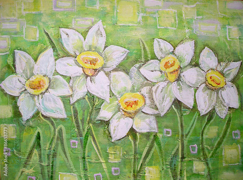 Fototapeta Spring white daffodils on a beautiful acrylic painting background. Daffodils spring flowers or narcissus. Canvas. Interior decor. Still-life painting.