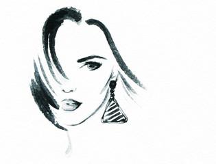 woman portrait .abstract watercolor © Anna Ismagilova