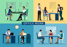 Office work design concept set with people working hard on their workplaces. Flat icons isolated vector illustration
