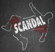 Постер, плакат: Scandal Dead Chalk Outline Killed Body Rumors Gossip Murder