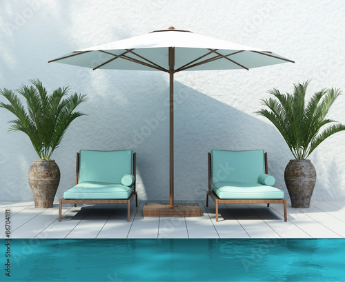Sunbed lounge by the pool, summer holiday front