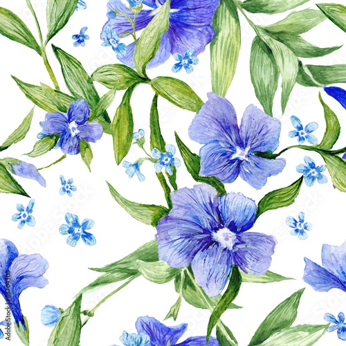 Fototapeta Tileable Floral Texture on White Background