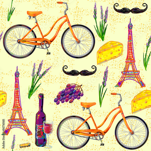 Materiał do szycia Seamless Paris French pattern with Eiffel Tower, bicycle, cheese, mustache, wine glass, grape, bottle of wine, lavender flowers. Perfect for wallpapers, web page backgrounds, surface textures, textile