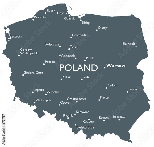 fototapeta na ścianę Polska mapa