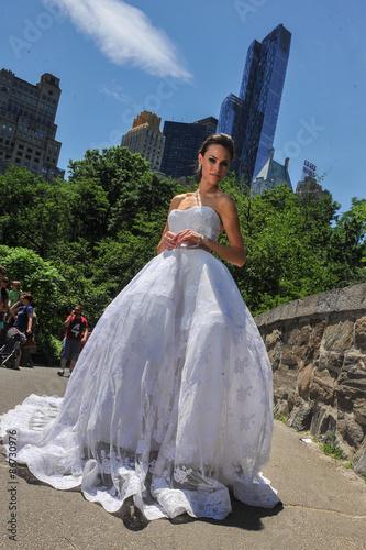 Poster Model Kalyn Hemphill pose at the Irina Shabayeva SS 2016 Bridal collection photo shoot