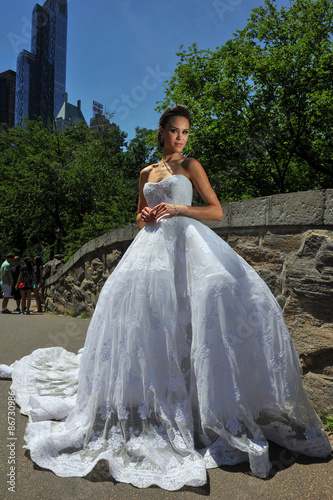 Model Kalyn Hemphill pose at the Irina Shabayeva SS 2016 Bridal collection photo shoot Poster