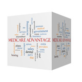 Medicare Advantage 3D cube Word Cloud Concept