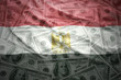 colorful waving egyptian flag on a american dollar money background