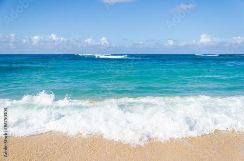 Ocean and tropical sandy beach background - 86750304