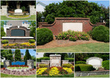 Suburban subdivisions entrance gates and gardens collage