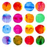 Fototapety 16 circle form brush stroke. Rounded colored shapes on white background