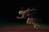 Fototapety pixelated design of woman  sprinter leaving starting blocks