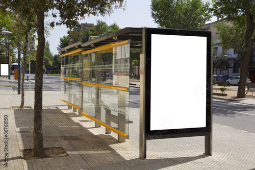 Blank billboard in a bus stop