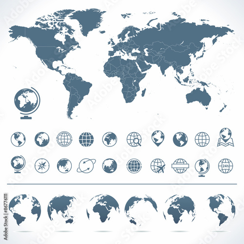 Staande foto Wereldkaart World Map, Globes Icons and Symbols - Illustration.Vector set of world map and globes.