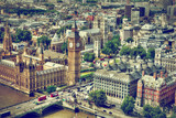 Big Ben, Westminster Bridge on River Thames in London, the UK aerial view
