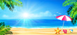 beach holidays - sun, palm and accessories
