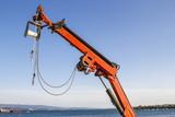 Red aquaculture crane poster