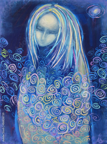 Awaiting birth. Beautiful acrylic painting on canvas of a mysterious woman in blue clothes, surrounded by abstract flowers, in the light of the star on a night background. Hand drawn portrait. © liyavihola