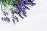 Lavender flowers over white wooden background - 86860116