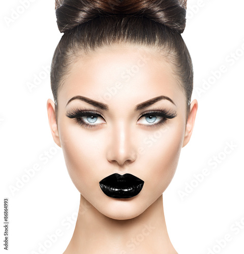 Poster, Tablou High fashion beauty model girl with black make up and long lushes