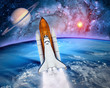 Space ship shuttle rocket launch spaceship Earth saturn planet. Elements of this image furnished by NASA.