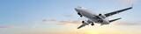 Fototapety Modern Passenger airplane flight in sunset panorama