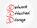 NAS - Network Attached Storage, acronym business concept poster