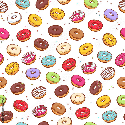 Fototapeta Colorful donuts seamless pattern. Doodle sketch style.