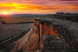 bardenas reales natural park in  sunset. Navarra