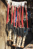 African ethnic handmade beads colorful wooden slingshots. Local craft market in South Africa. Craftsmanship. poster