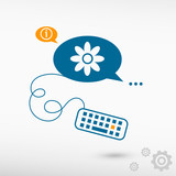 Pictograph of flower and keyboard on chat speech bubbles poster