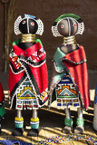 African ethnic fashion handmade beads rag dolls. Local craft market in South Africa. Craftsmanship. poster