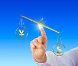 Dollar Outweighing The Yen On A Golden Balance poster