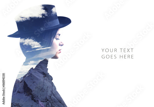 Double exposure of girl wearing hat profile and mountains card - 86894338