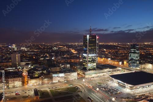 fototapeta na ścianę Warszawa Centrum w nocy w Polsce
