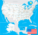 Fototapety USA map and flag - highly detailed vector illustration with next layers.There are land contours, country and land names,  city names, water object names, flag, navigation icons, roads, railways.