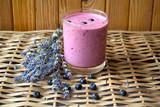 Fototapety Blueberry with lavender and milkshake